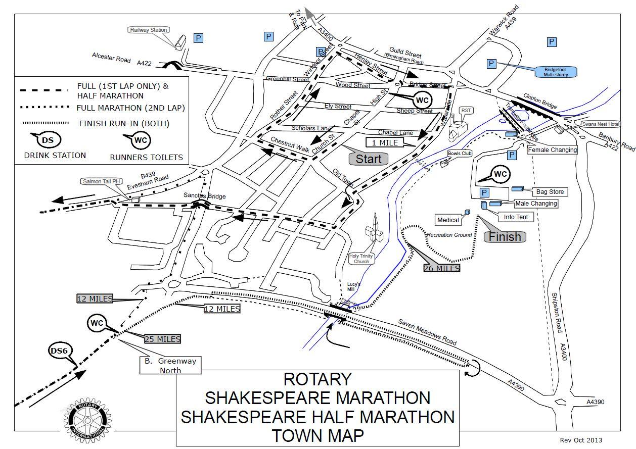 Shakespeare marathon town map stratford-upon-avon