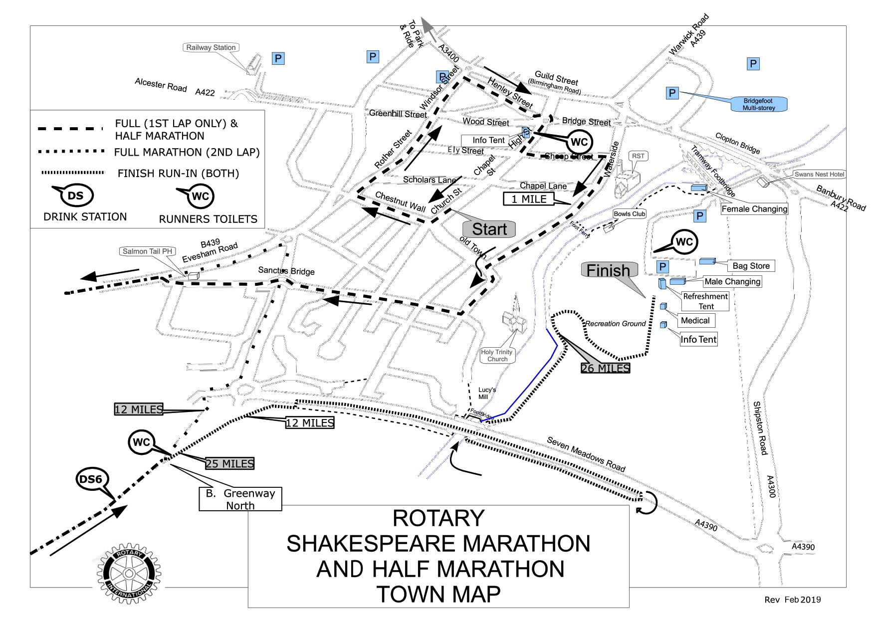 Shakespeare marathon town map stratford-upon-avon